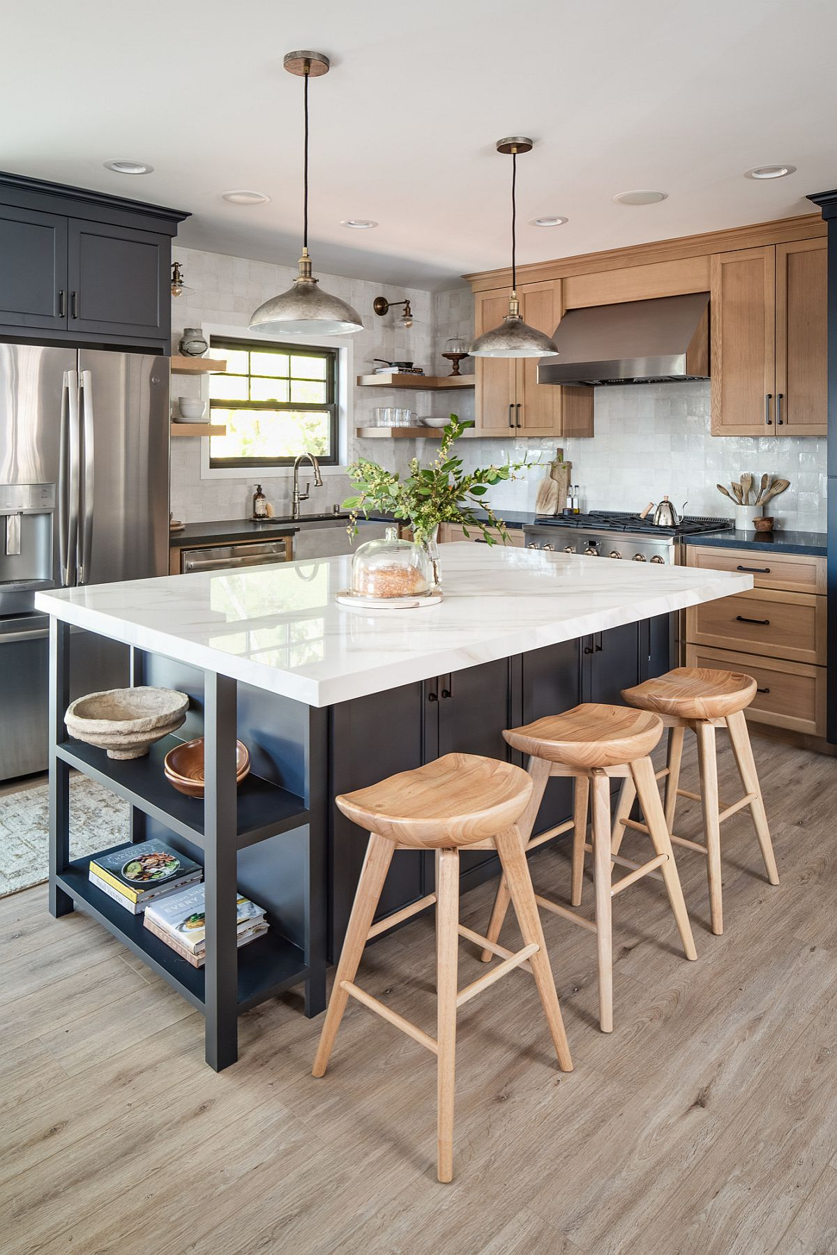 Add open shelves to your kitchen island to give it a more eye-catching appeal