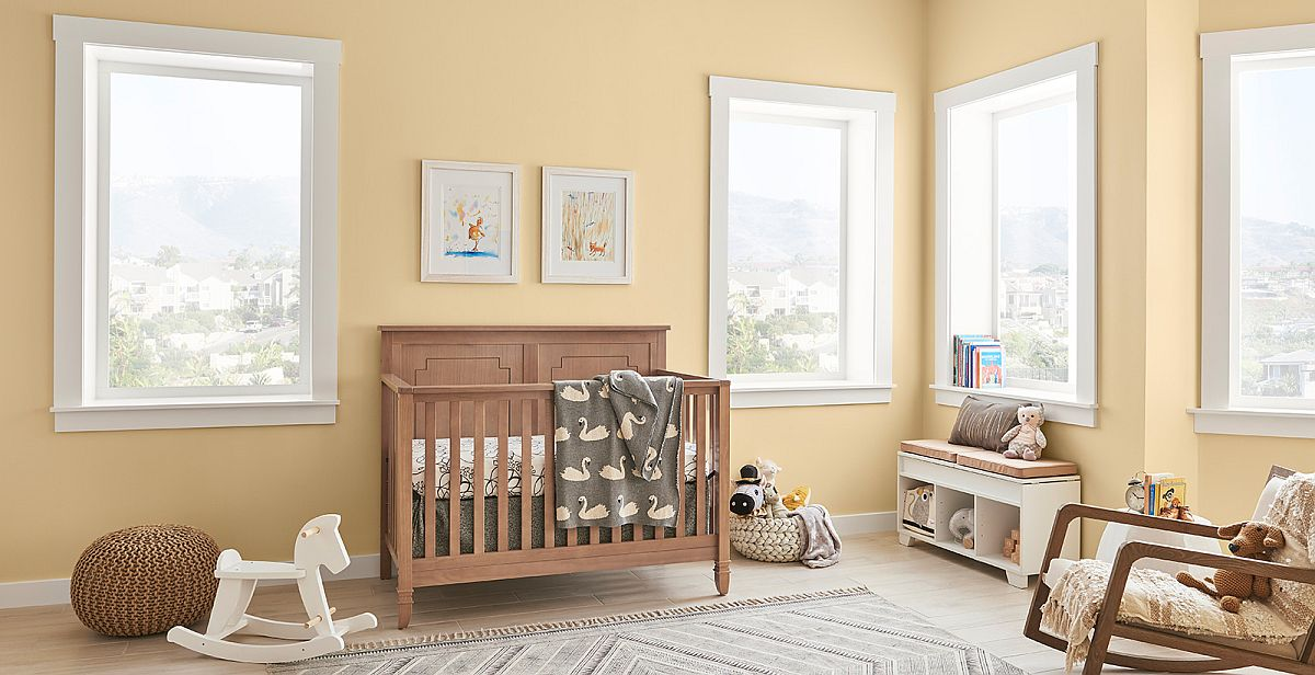 Adding just a few pops of accents can give this contemporary nursrey a more distinct fall flavor