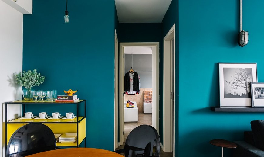 Apartment BC: Delightful Mix of Blue, Yellow and Modern Space-Savvy Design