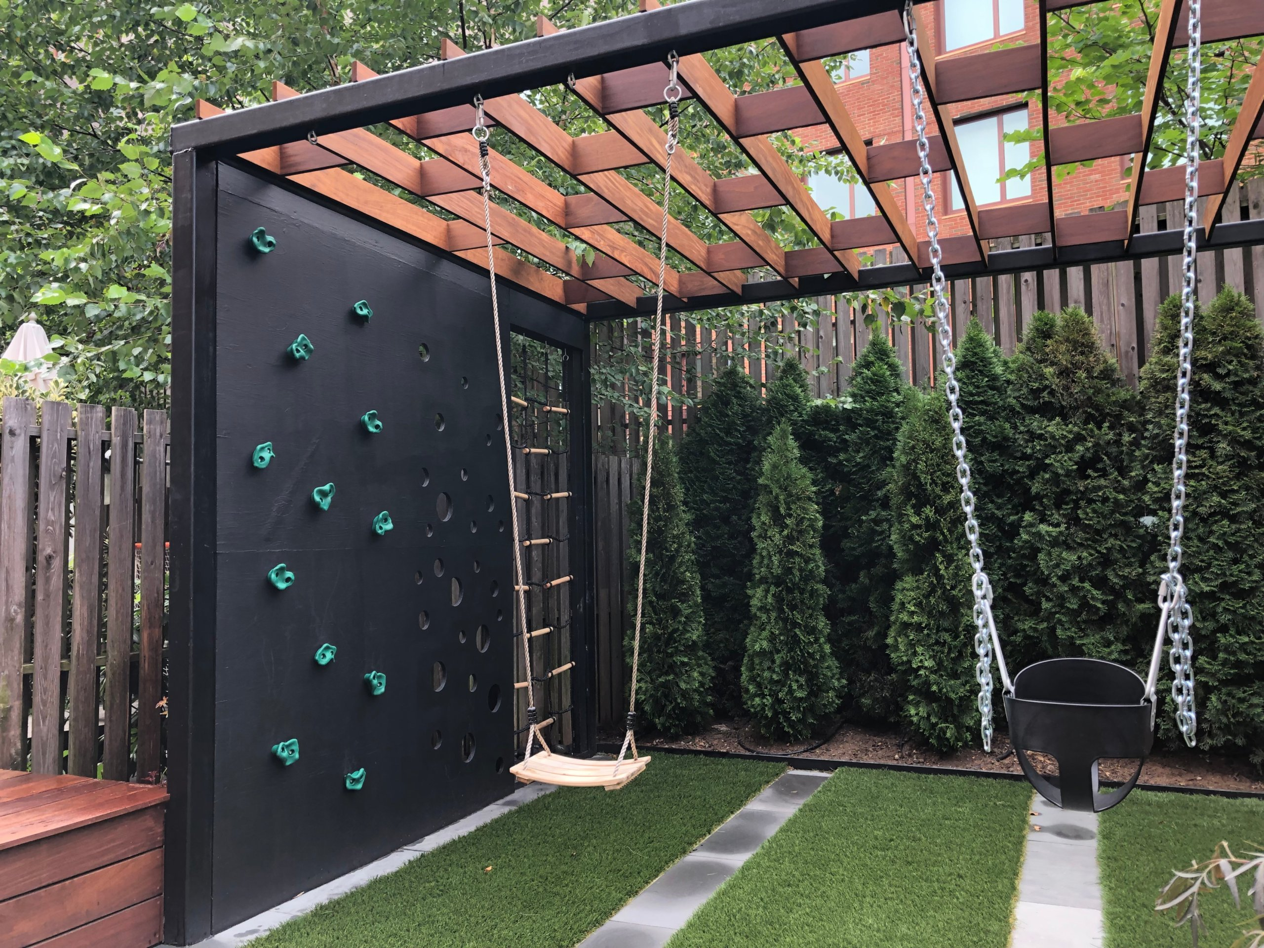Custom backyard playground of Brooklyn home makes most of limited space