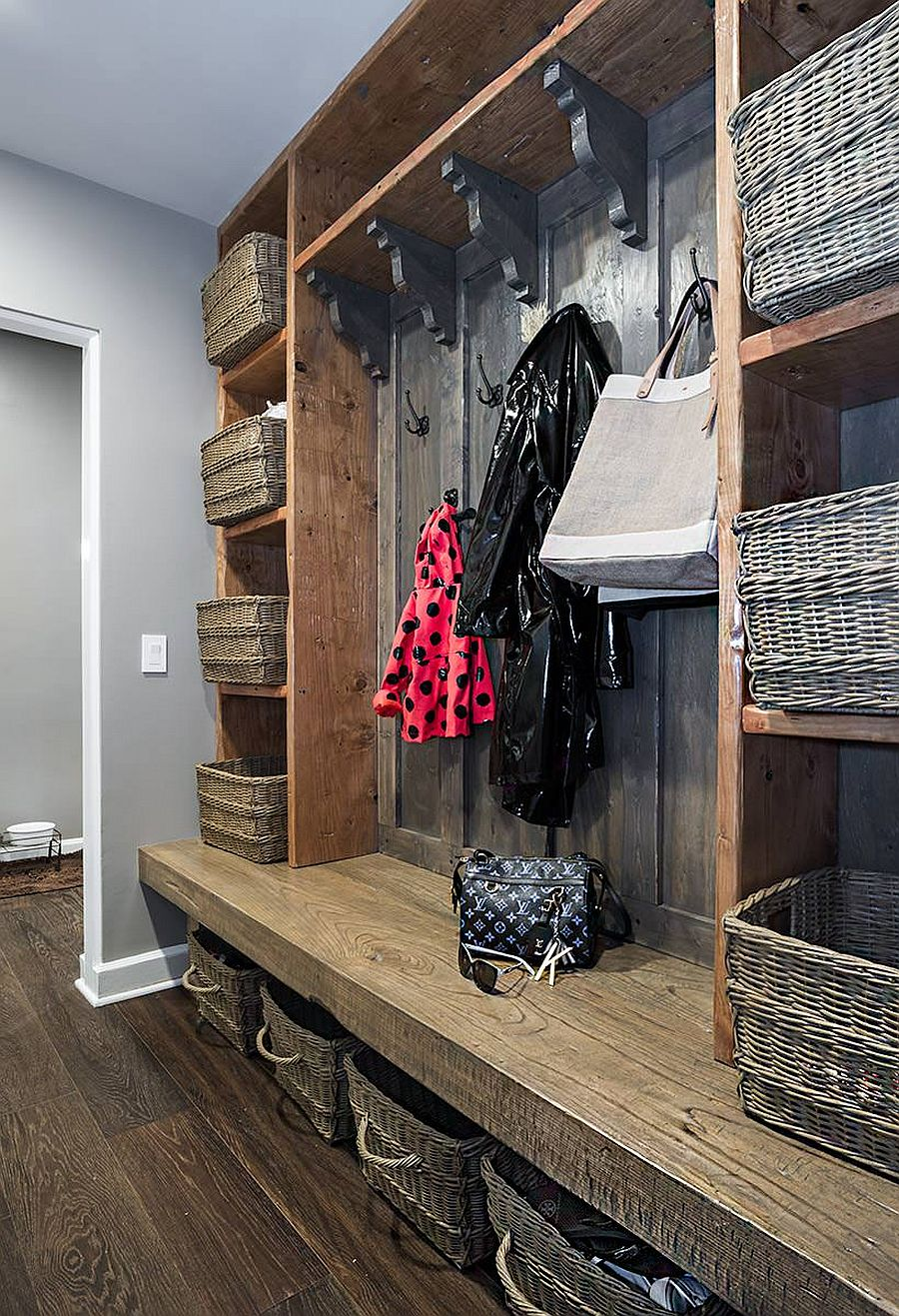 Custom entry cabinets and shelves created using reclaimed wood for the rustic home