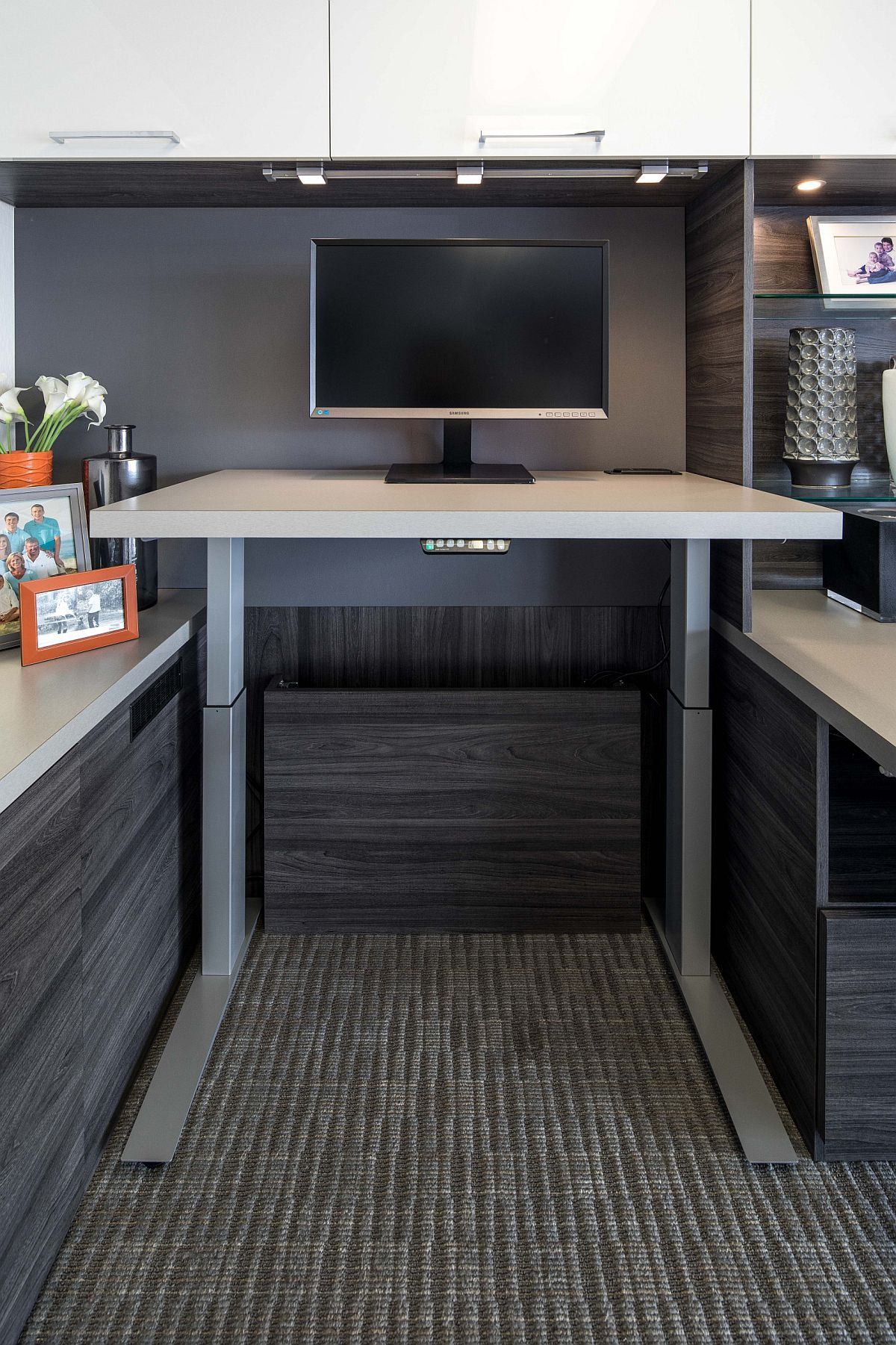 Custom height adjustable desk for the small modern home office
