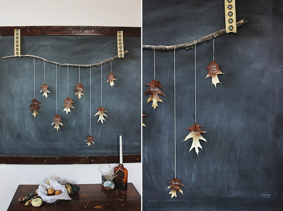 DIY Giving Thanks Leaf Garland in Gold is Super-Easy to Make