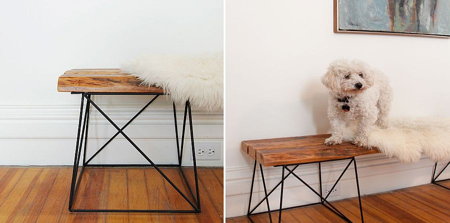 DIY bench made from reclaimed wood and metal is perfect for the modern entryway