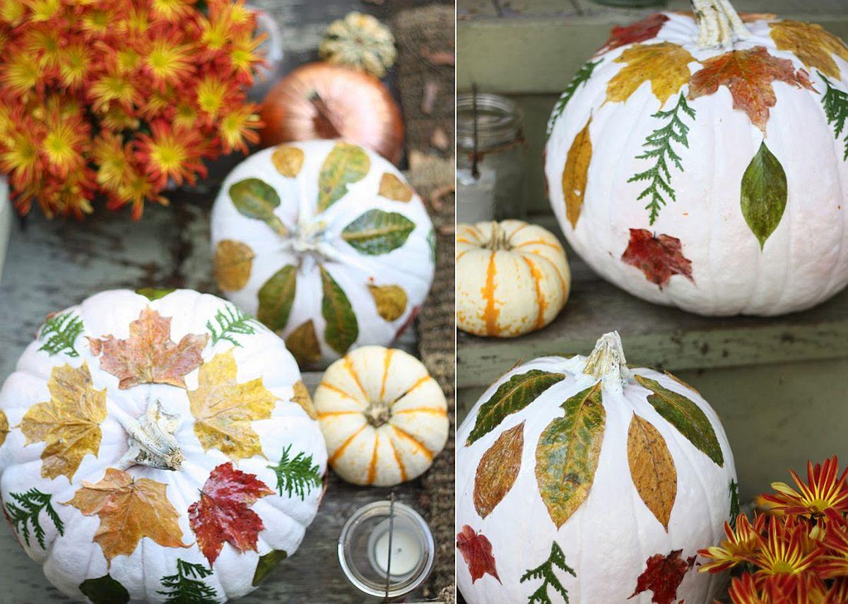 DIY pumpkin decorating using fall leaves to create fun prints