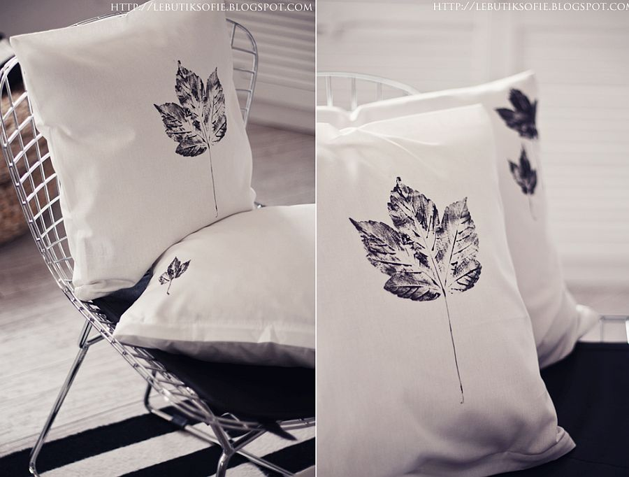 Easy and simple DIY pillow cases with leaf prints that are perfect for fall