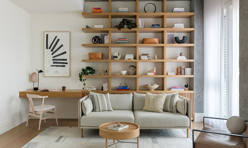 Custom Wooden Shelf and Workspace Steal the Spotlight at this Brooklyn Home