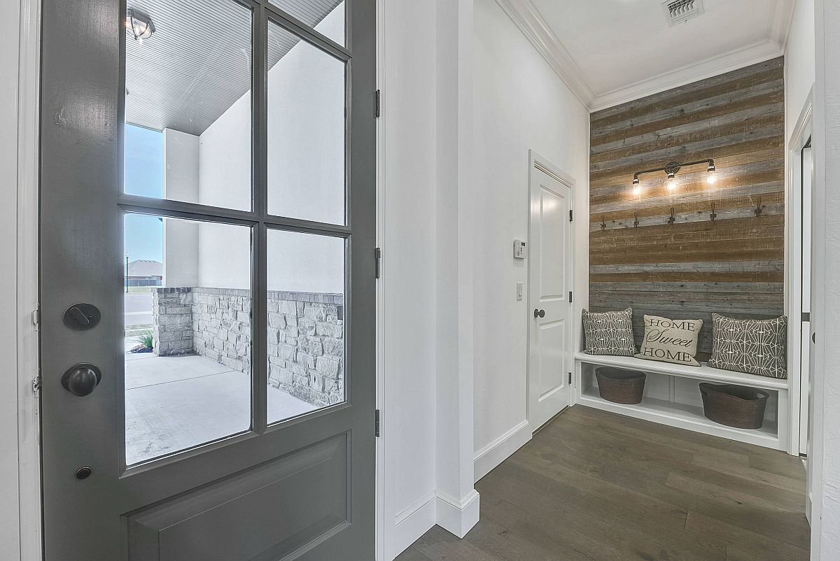 Fabulous reclaimed wood accent wall for the contemporary entry in white