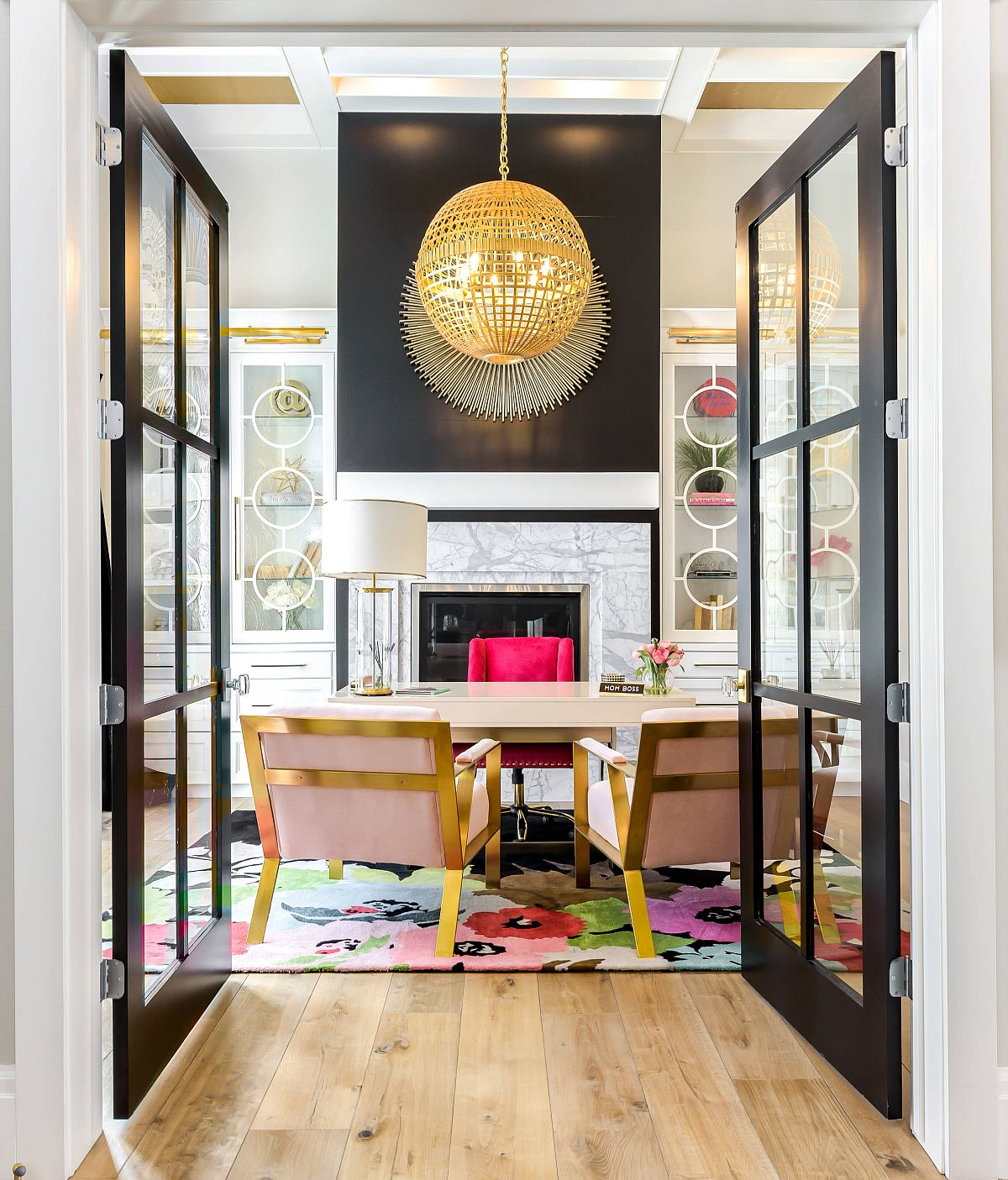 Fabulous-transitional-style-home-office-with-large-framed-glass-doors-and-smart-pops-of-color-inside-13527