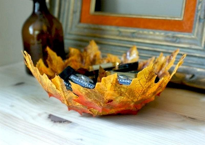 Fall leaves bowl that is made at home