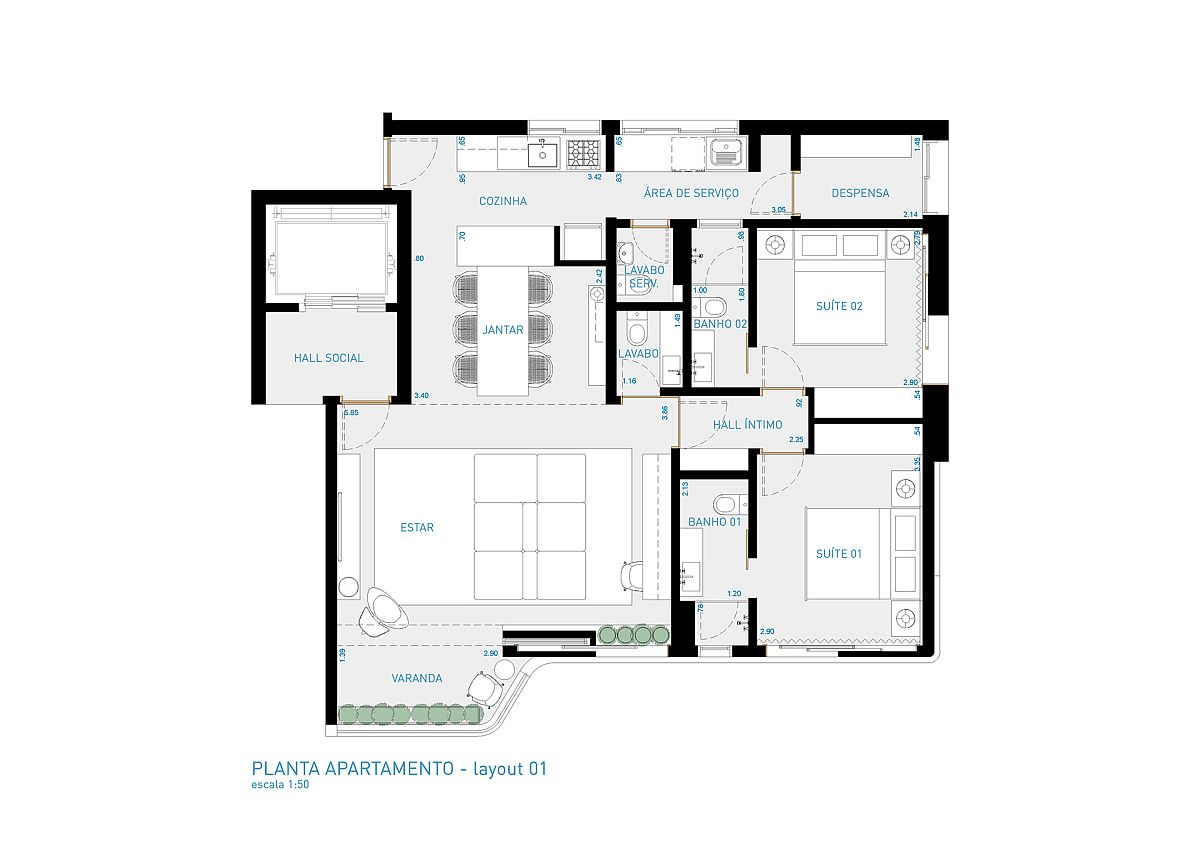 Floor plan of VCH Apartment in Sao Paulo