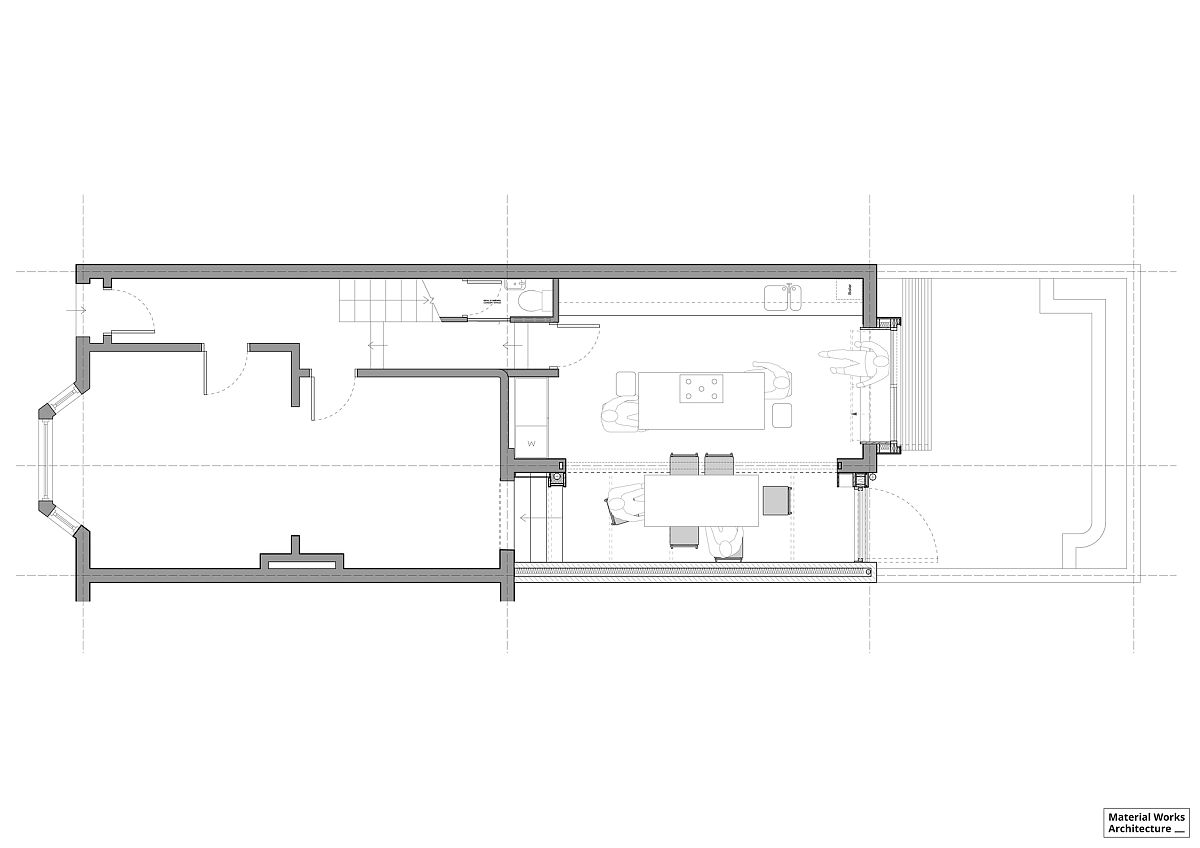 Floor plan of the Victorian home in London with a smart new rear addition