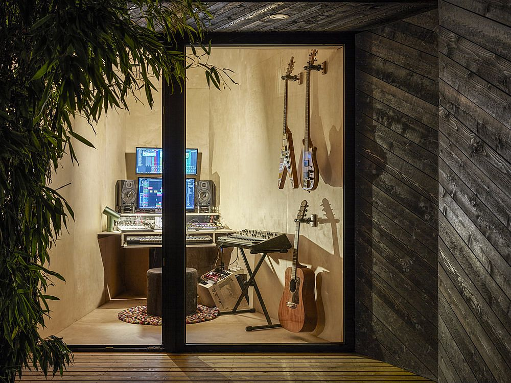 Framed glass doors for the small backyard music shed