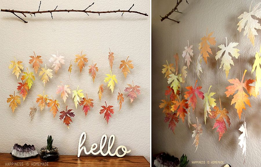 Gorgeous leaf and branch mobile can be created in more ways than one