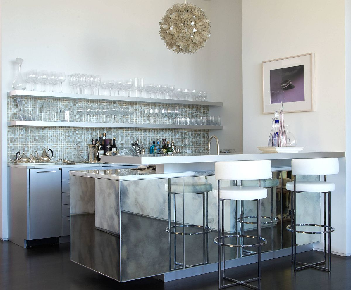 Gorgeous mirrored island looks as great in the home bar as it does in the modern kitchen