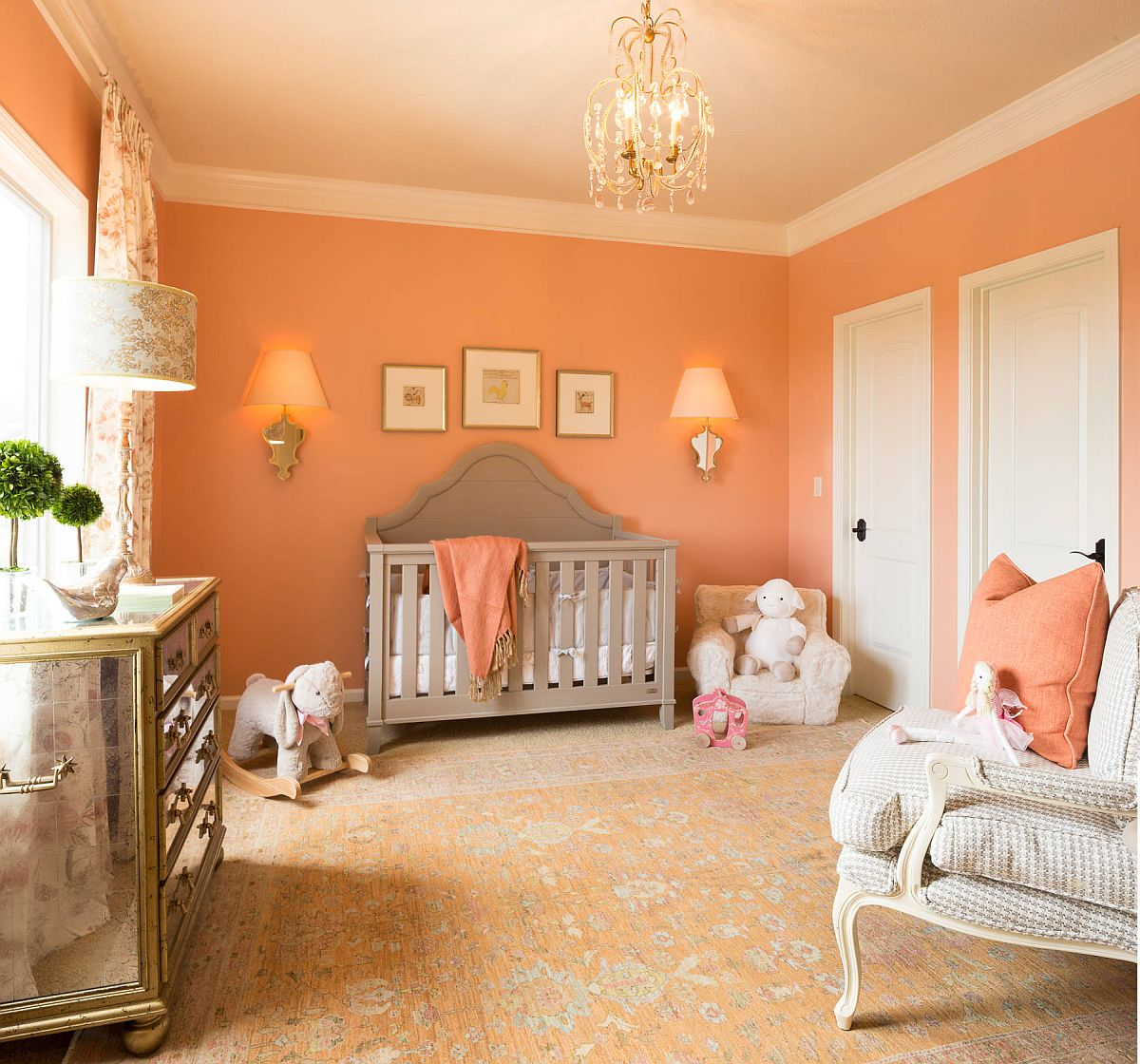 Heart-warming shade of orange - peach blossom, is perfect for the fall-themed girls' nursery