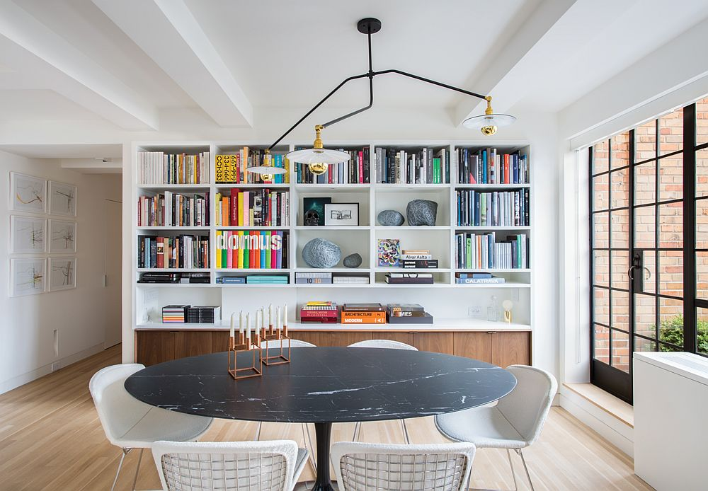 Iconic-Saarinen-dining-table-with-dark-marble-top-steals-the-show-in-here-37369