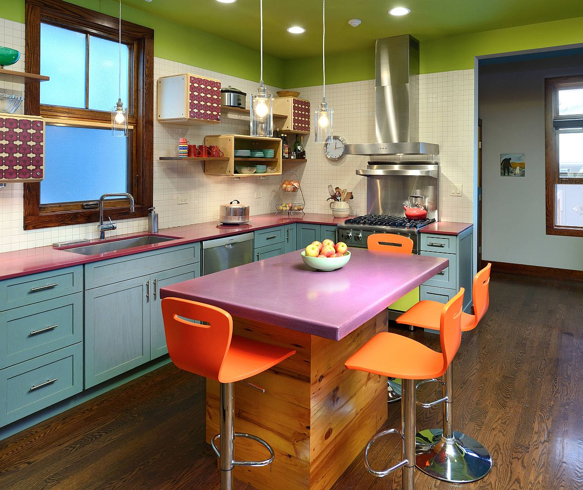 Imaginative use of bright color in the small eclectic kitchen