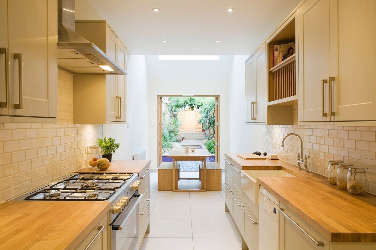 Kitchen and dining area of the Slim House in London