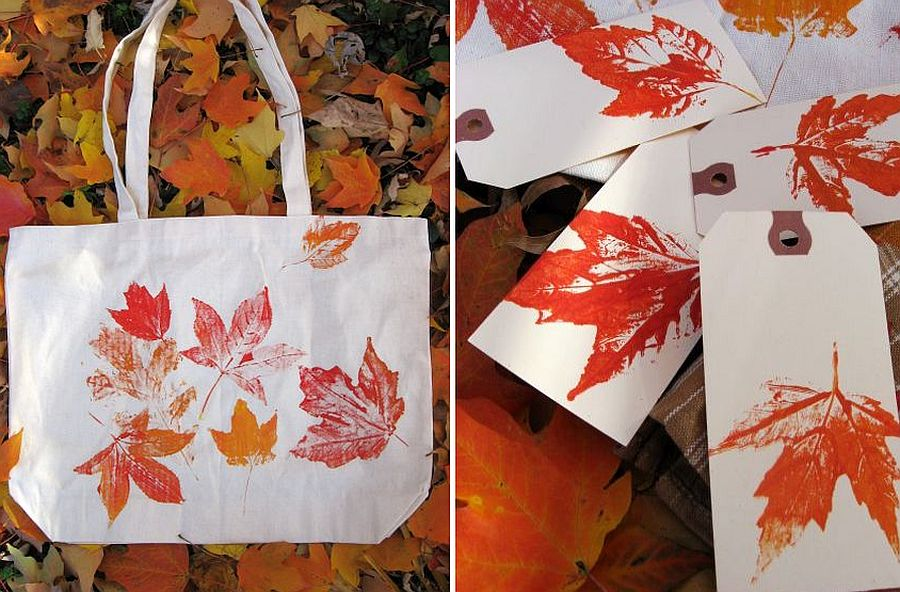Leaf prints for your tote bags and paper bags make for a fun gift this fall