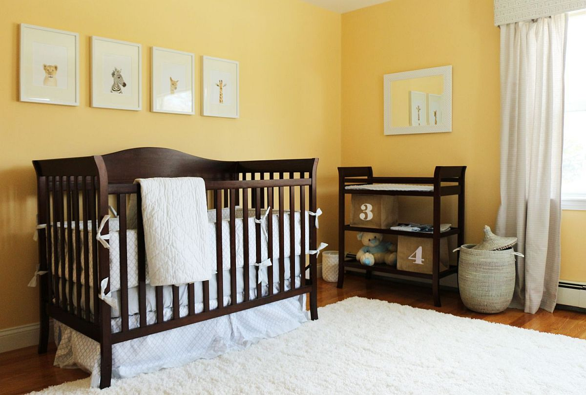 Lovely yellow with matte finish can easily replace boring white walls in the modern nursery