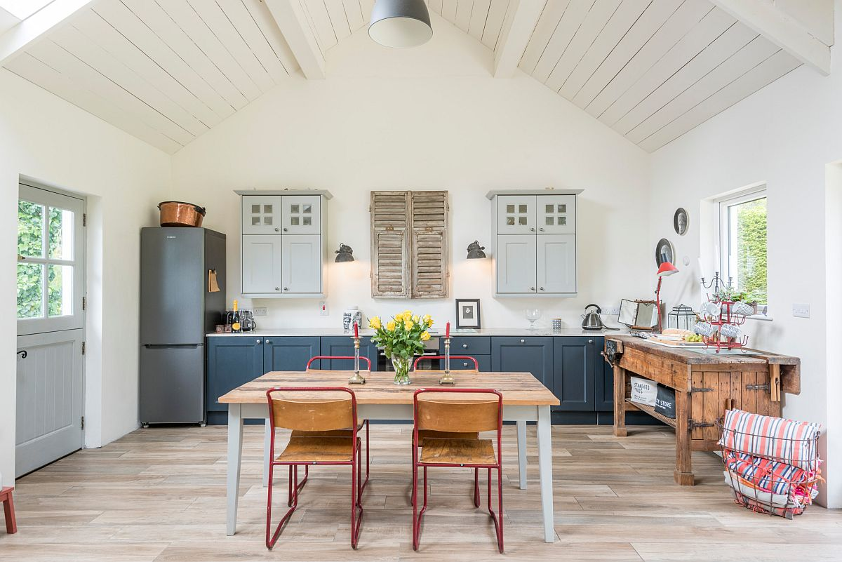 Modern farmhouse style kitchen with space to dine and relax