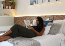 Relaxing-and-fabulous-modern-bedroom-in-wood-and-white-with-herringbone-pattern-headboard-and-smart-storage-81017-217x155