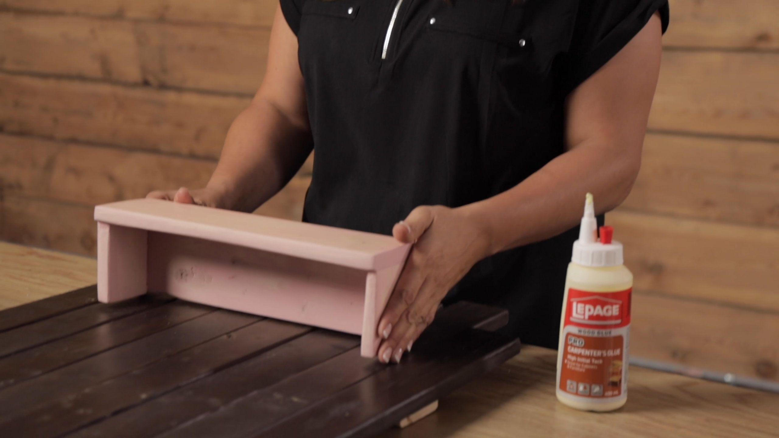 Use wood glue to place vintage planter boxes on