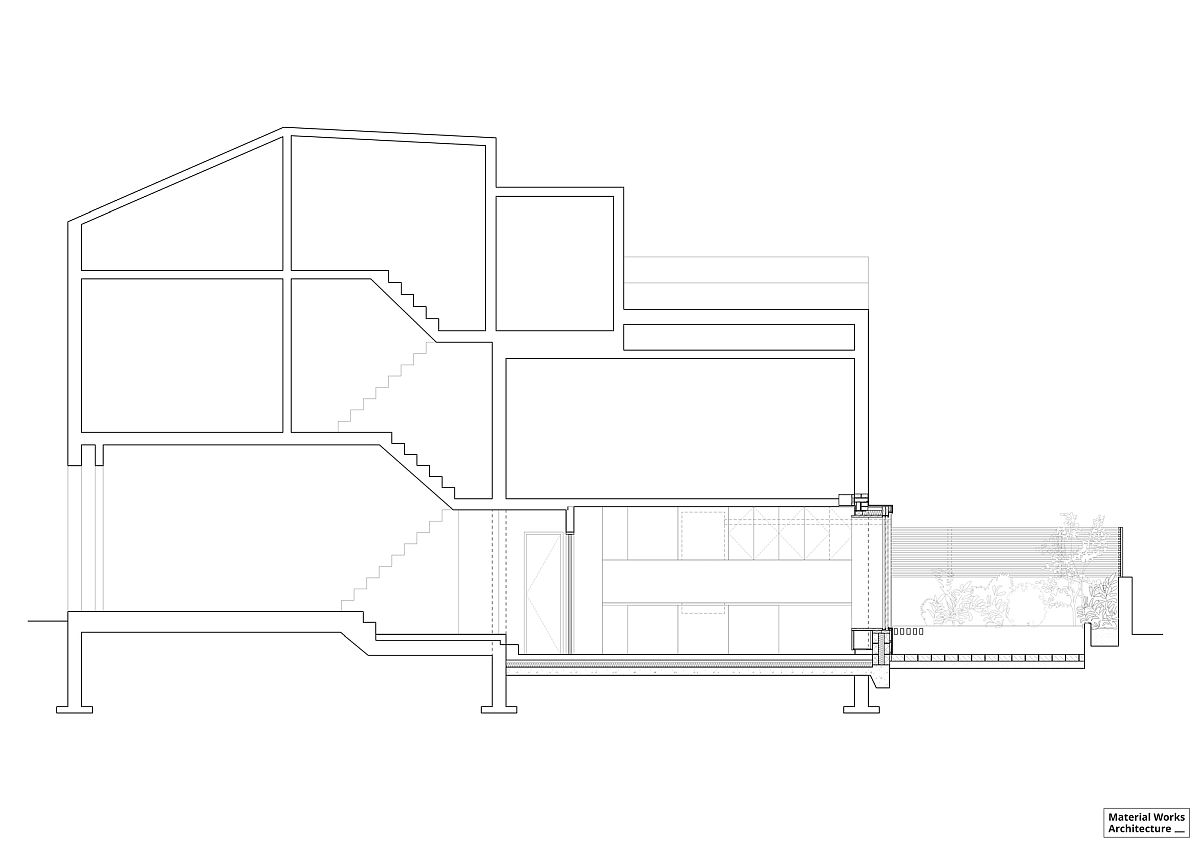 Sectional view of the altered Stoke Newington House in London