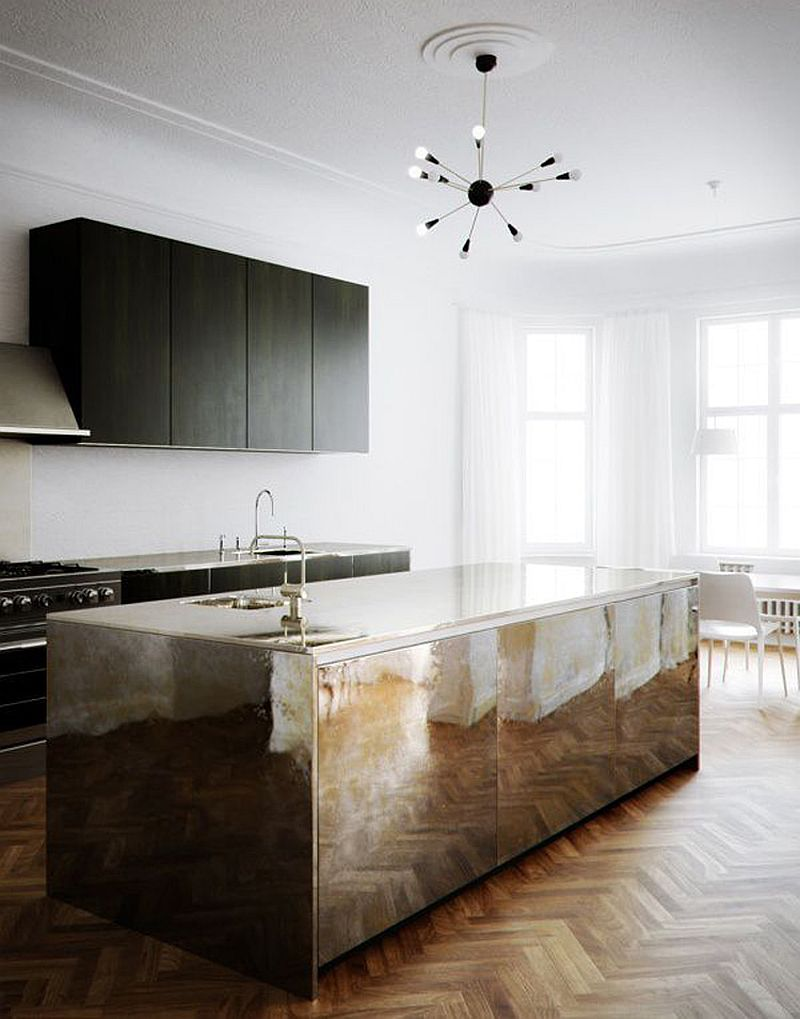 Sleek and stunning mirrored island for the contemporary kitchen with chevron pattern wooden floor