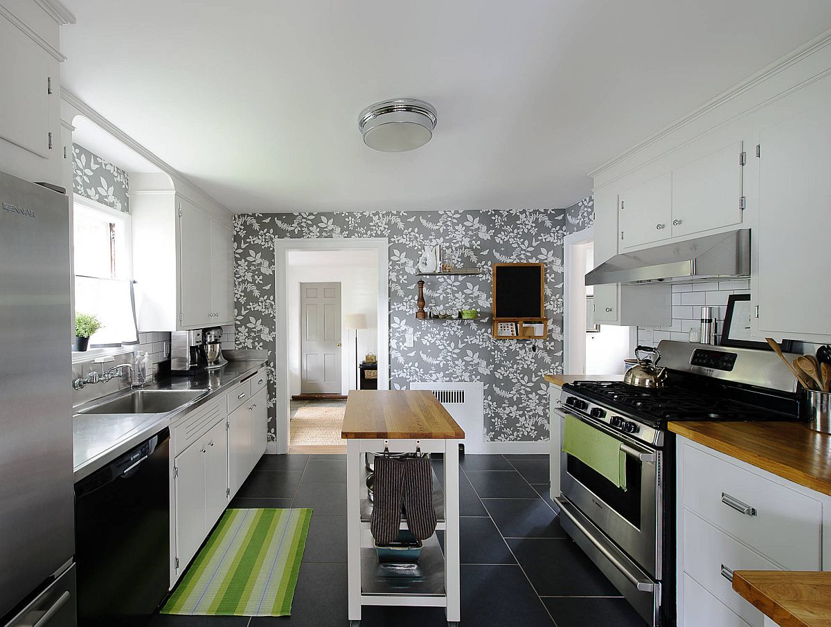 Slim and open wooden island for the gorgeous modern kitchen built on a budget