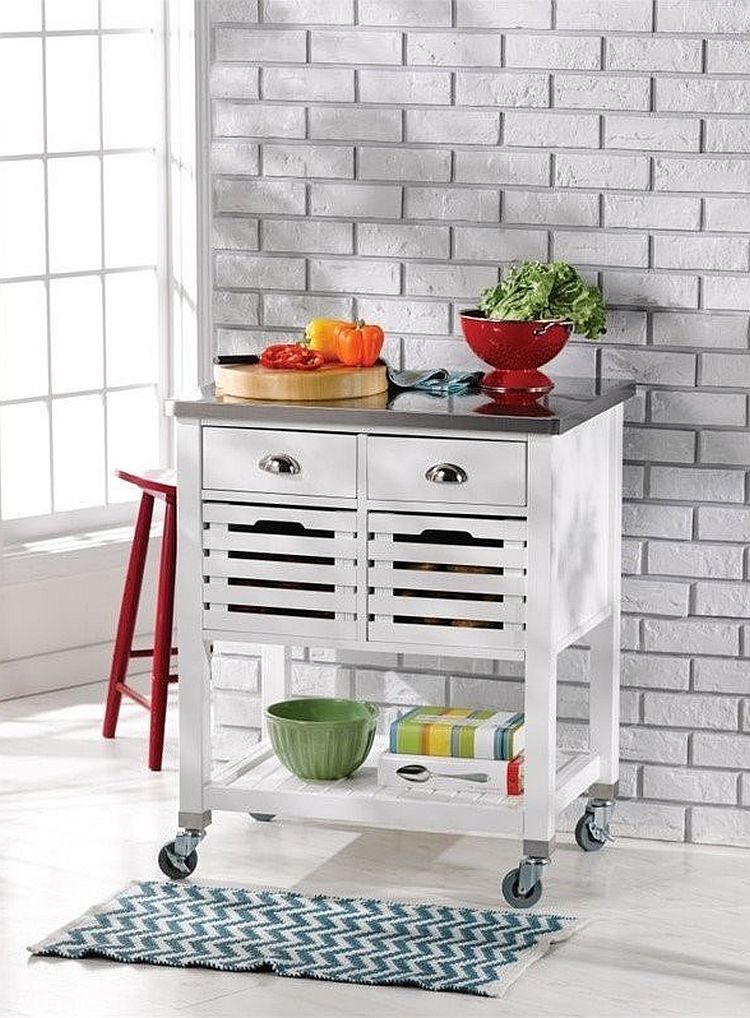 Small cart style island on wheels is perfect for the tiny kitchen with a modern style