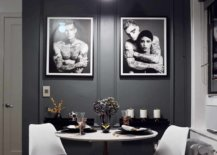 Sophisticated-NYC-dining-room-with-dark-gray-walls-and-framed-photographs-in-the-backdrop-36807-217x155