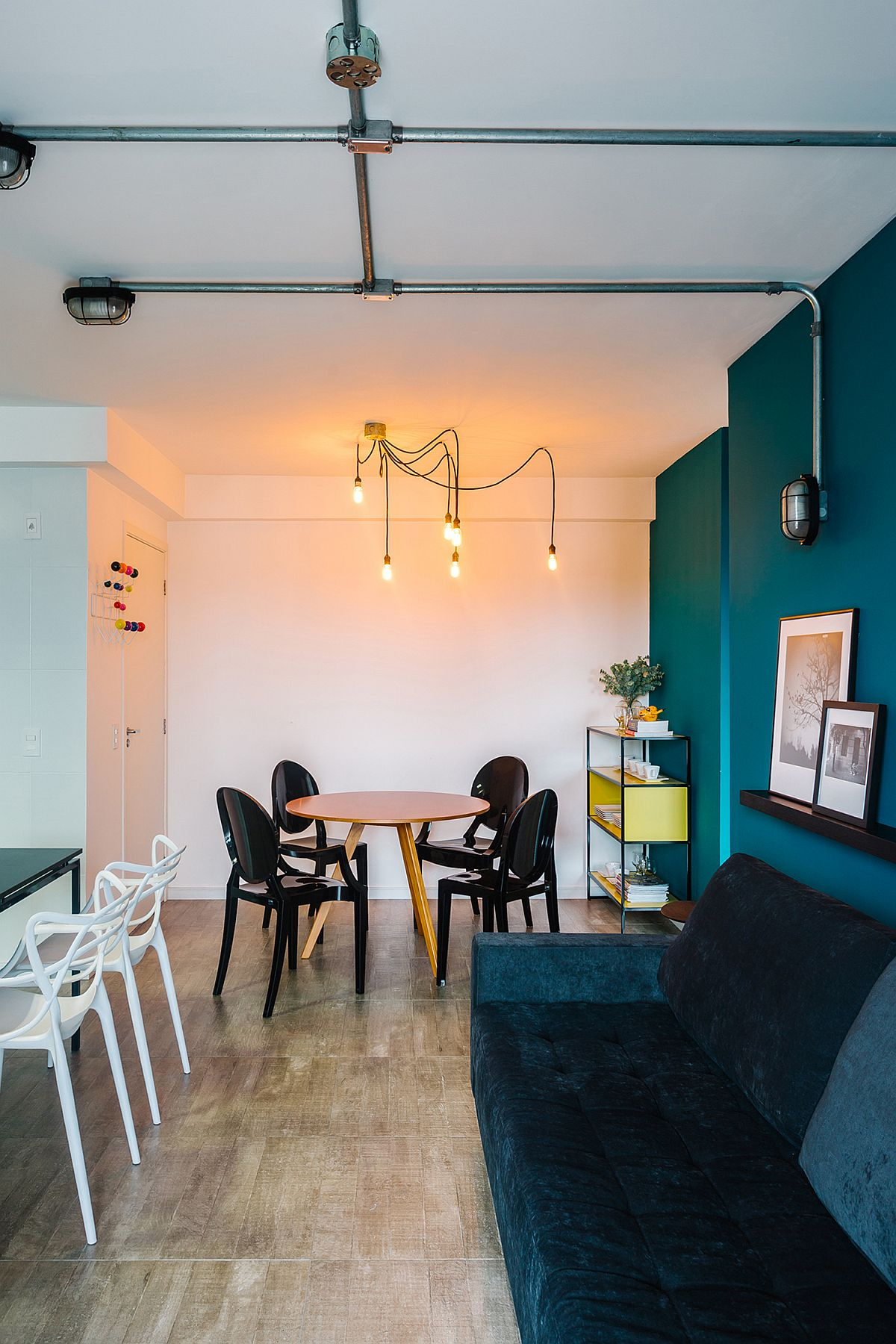 Spacious and stylish interior of the modern Brazilian apartment with lovely blue walls