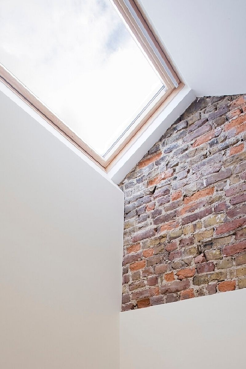 Staggered skylights are a big part of teh slim house and bring light into all the rooms across different levels