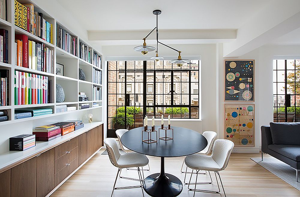 Stylish dining room of the renovated 1930's apartment in New York City