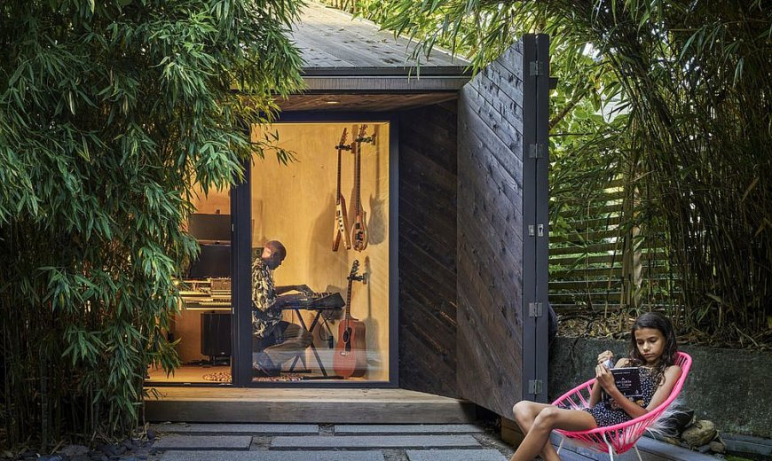Small Space Design: Tiny, Functional Music Shed in Vancouver in Glass and Timber