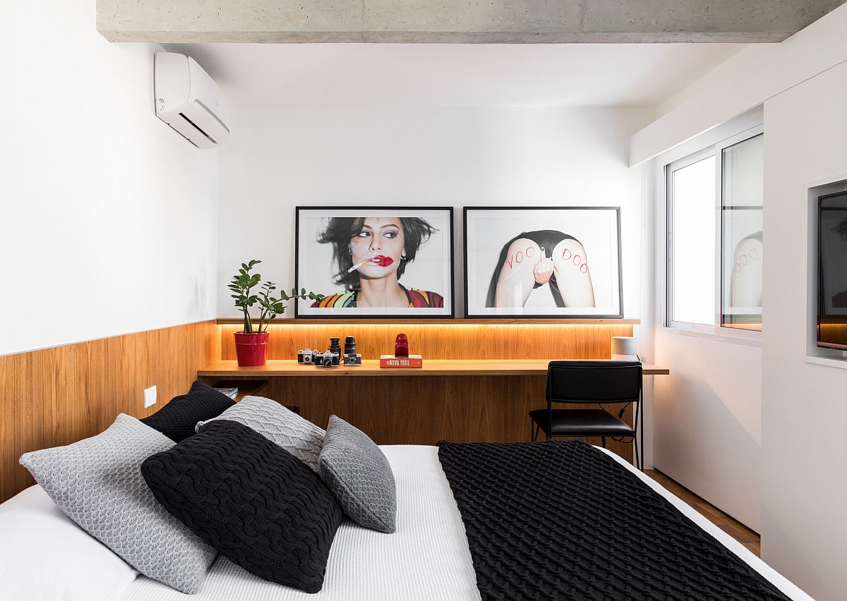 Turn a single wall in the bedroom into a smart home workspace with beautiful lighting