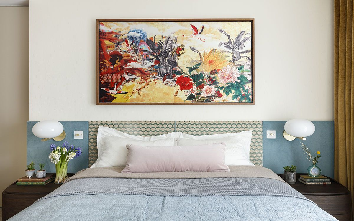 Wall-art-piece-for-the-headboard-wall-steals-the-show-in-this-gorgeous-contemporary-bedroom-80971