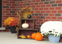 wood crates with pumpkins and flowers