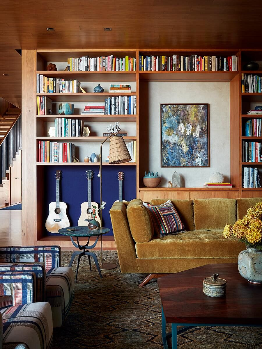 Beachy eclectic interior of the home in wood feels fresh and inviting