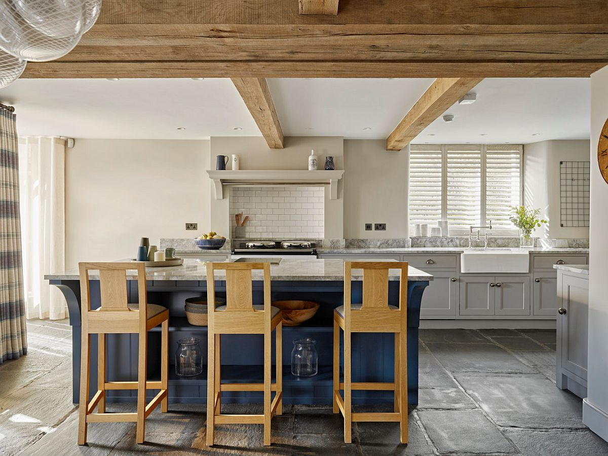 Blue is a popular hue to try out in the modern farmhouse kitchen