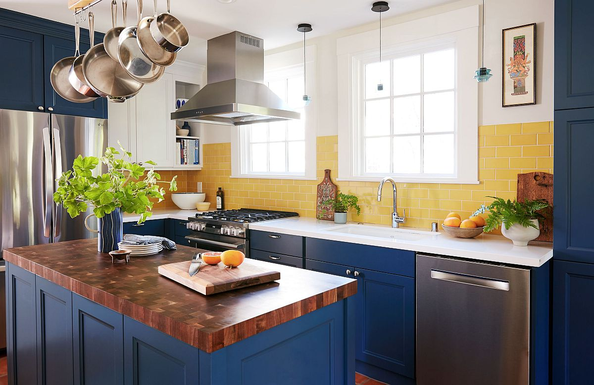 Bright blue and yellow eclectic kitchen in San Francisco with a smart central island