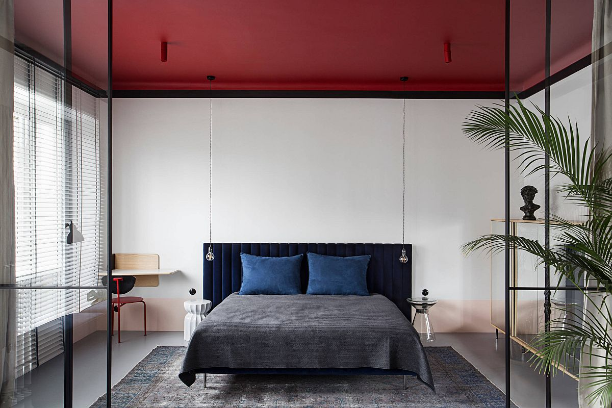 Brilliant-red-ceiling-steals-the-spotlight-in-this-small-white-bedroom-90732