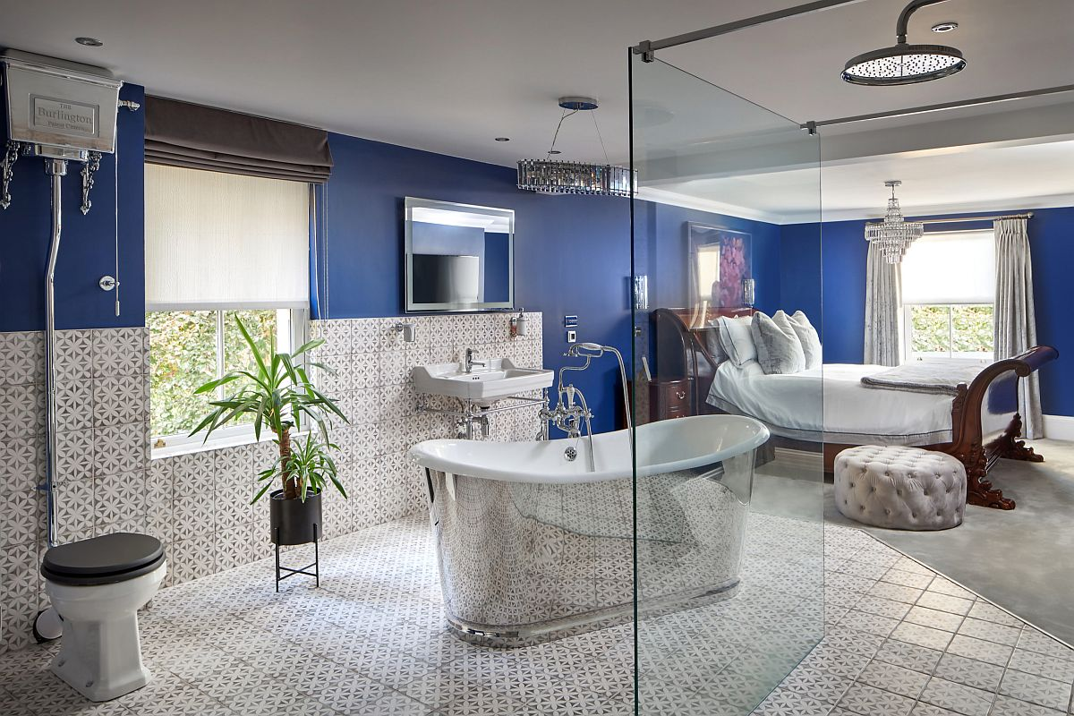 Brilliant sparkling bathtub steals the spotlight in this master bedroom where both rooms become one