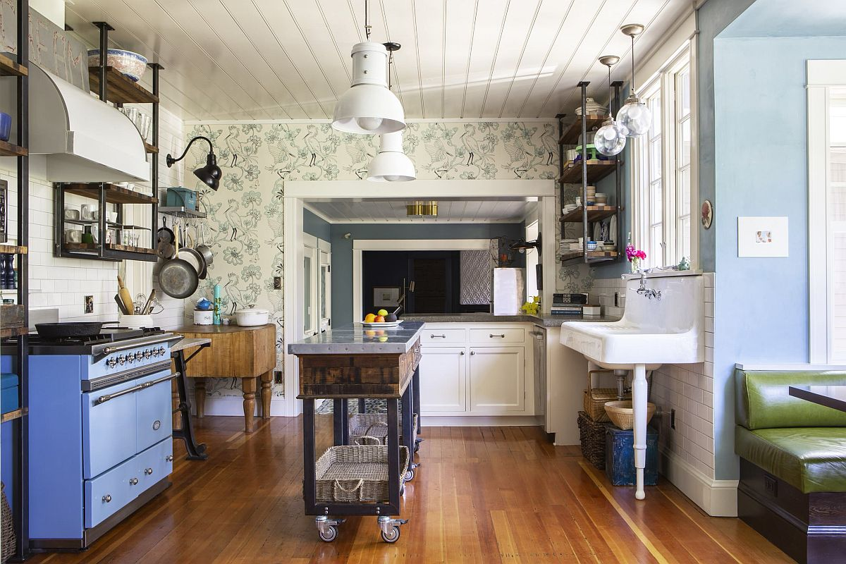 Cart-style open island on wheels for the small eclectic kitchen
