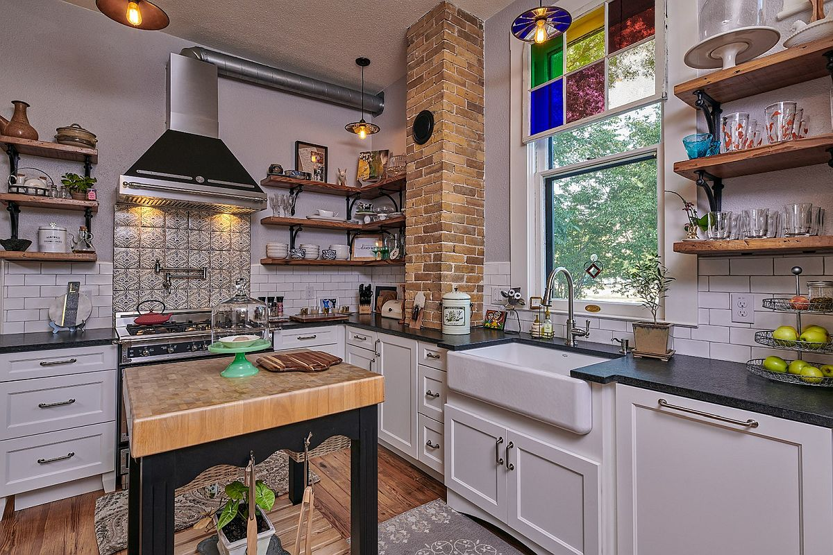 Classic kitchen turned into a modern eclectic masterpiece with a lovely little island in wood