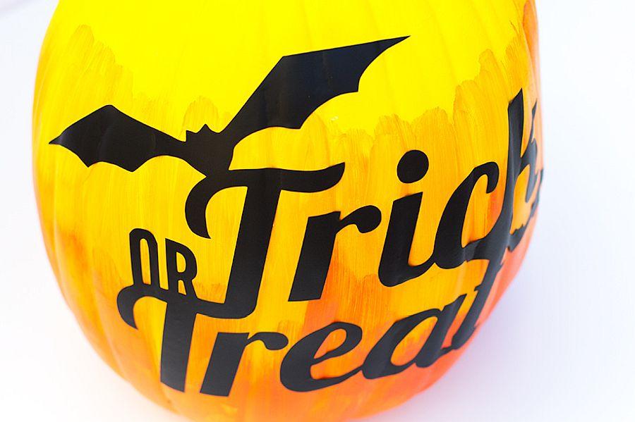 DIY trick or treat ombre painted pumpkin idea
