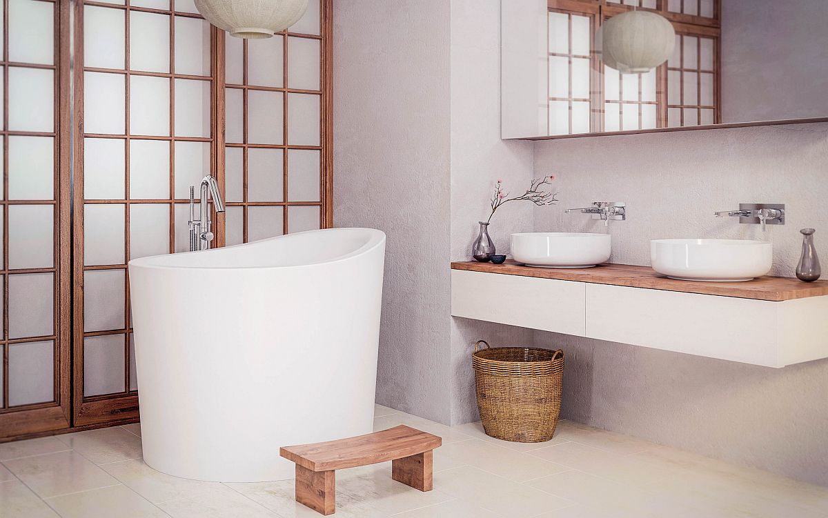 Deep Asian style soaking tub in white for a bathroom with similar style