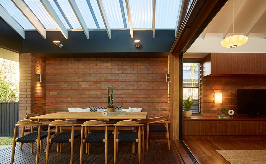 Dining space becomes a part of the interior and the exterior at the same time